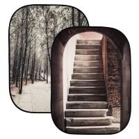 Tło składane Lastolite Perspective Collapsible 1.5 x 2.1 m Stone Steps / Winter Trees - LL LB5740