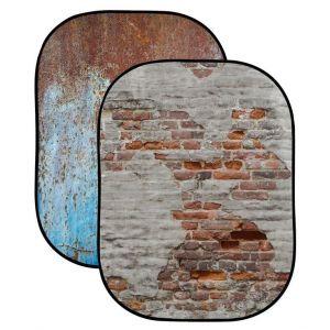 Tło składane dwustronne Lastolite Urban Background 1,5 x 2,1m Rusty Metal/Plaster Wall - LL LB5713