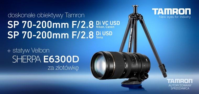 Promocja Tamron SP 70-200mm F/2.8 Di VC USD + Velbon Sherpa E6300D