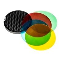 Zestaw filtrów żelowych i grid do Quadralite Reporter - WYSYŁKA W 24H