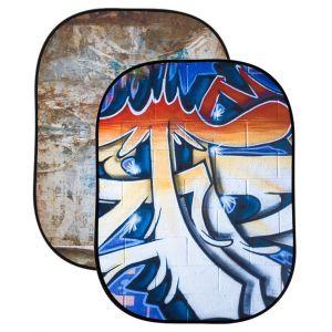Tło składane dwustronne Lastolite Urban Background 1,5 x 2,1m Distressed Paper/Graffiti - LL LB5714